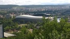 A view over the city of Cluj with the big football stadium in the middle