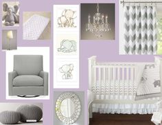 gray and purple nursery | Purple and Grey Elephant Nursery Design Board. | Cauthon Cuties