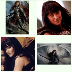 "My next tattoo idea.. I want a warrior angel with wings. First picture, I like her stance. Second and third picture I love that ""You better pack a lunch boy, cause I'm gonna hand you your Ass""  smirk.  Over all tattoo looks something like the last picture. But with zena's smirk. A.N"
