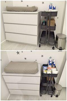 Baby Nursery Ikea Malm Ideas For 2019 Baby Storage, Bedroom Storage, Diaper Storage, Baby Clothes Storage, Diaper Caddy, Baby Bedroom, Baby Room Decor, Ikea Baby Room, Nursery Ideas
