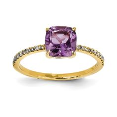 14k Diamond and Amethyst Square Ring Quality Gold Y11407AM/AA