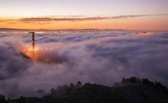 """A revista 'National Geographic' selecionou algumas das melhores fotos que recebeu sobre o tema """"Luz Dourada"""", expressão que se refere à luz na hora depois que o sol nasce e antes de ele se pôr. Esta imagem foi feita por Michael Bennett na ponte Golden Gate, em San Francisco.  Foto: Michael Bennett/National Geographic Your Shot"""
