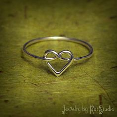 Heart Knot Ring  love knot ring  Infinity Heart ring  by Katstudio $23.00
