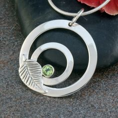 Sterling Silver Pendant Necklace with Faceted Green Peridot Gemstone with Leaf Accent, OOAK