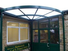 Park Street Furnishing provide their customers with bespoke entrance canopies so you can create a welcoming covered entrance area. School Entrance, Best Commercials, Canopies, Gazebo, Outdoor Structures, Primary School, Kiosk, Upper Elementary, Pavilion