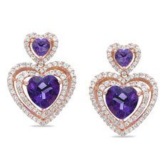 This clever design pairs heart-shaped lab-created purple amethyst with ribbons of shimmering round lab-created white sapphires in a unique double drop design.