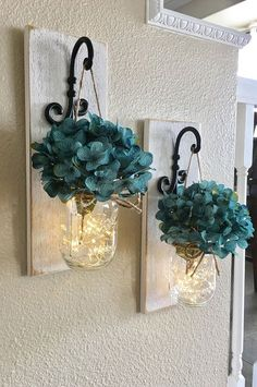 Etsy Set of Mason Jar Wall Sconces, Bedroom Wall Decor, Mason Jar Sconce, Mason Jar Decor, Mason Jar Wall. Home decor.