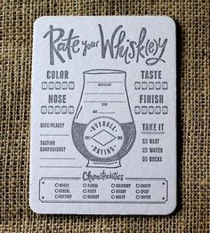 Rate Your Whiskey Letterpress Coasters by Paper Plates Press on Scoutmob Shoppe