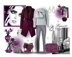 """""""grey and burgundy"""" by lumi-21 ❤ liked on Polyvore featuring Lands' End, Arma, MSGM, Torrini, A.N.A, Charles Hubert, Cultural Intrigue, Cyan Design, Viktor & Rolf and DuWop"""