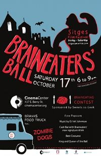 """BRAINEATERS' BALL   Saturday, October 17th 6:00 PM - 9:00 PM   It's Alive...IT'S ALIVE!!!    Braineaters' Ball is back to help you celebrate FRIGHT NIGHT in Downtown Fort Wayne! Enjoy Music by DJ Vel Johnnson. Dress to the nines and compete for the coveted position of Ball Royalty. Challenge yourself in the SWEETS SO GEEK """"Brain Eating Contest"""".  Enjoy free popcorn and devilish concoctions at our Cash Bar. Marvel at the fiendish decor from OPEN SIGN PRODUCTIONS."""