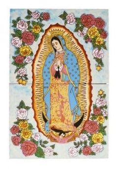Mexican Style Mural - Virgen de Guadalupe con rosas ...