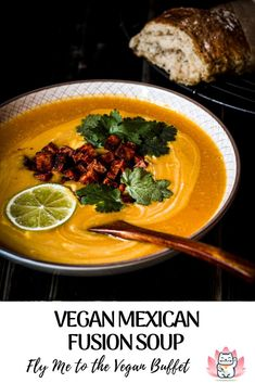 No, I didn't have this Mexican fusion soup in Mexico. I had chips. Almost pink with paprika powder and dripping with fresh lime juice! And that's what inspired me to this hearty vegan pumpkin soup or sweet potato soup - you can use your vegetable of choice: butternut, potato, carrot, it all works :)
