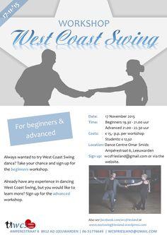 Engelse flyer voor West Coast Swing Friesland
