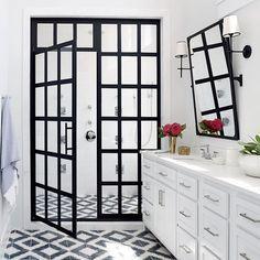 Industrial grid shower door