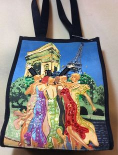 """EIFEL TOWER SEQUENCE/BEADED""""GOWNED LADIES""""BLUE&BLACK TOTE~12""""X9""""X5""""(VINTAGE~NEW #Unbranded #TotesShoppers"""