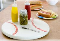 With EXPO markers - Turn a lazy susan into a baseball or anything circular, really :)