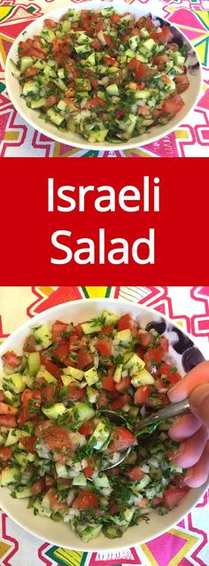 Israeli Salad Recipe With Tomatoes, Cucumber, Onions and Parsley - crunchy, healthy and easy to make! Everyone loves this salad! |…