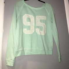 juniors mint green sweater mint green sweater with #95 on the front in lace Tops Tees - Long Sleeve