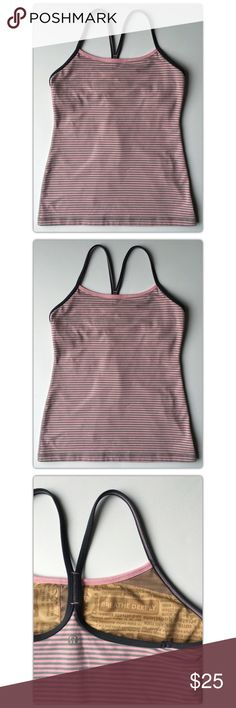 Lululemon Pink Striped Power Y Tank Size 6 Lululemon  Pink Striped  Power Y Tank  Size 6  Flow freely through all types of yoga in this thin-strapped racerback tank.   Pre-owned condition. MAKE ME AN OFFER!  lululemon athletica Tops Tank Tops