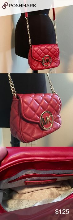 Michael Kors Quilted Red Leather Fulton Crossbody Gorgeous true red! This bag has the softest leather ever. I have to say that it is as soft as a Chanel lambskin. No joke. I compared them! Not all of them are this soft, but this one is. Gold hardware, back pocket, interior pocket, comes with care card. This was originally purchased from Macy's. Michael Kors Bags Crossbody Bags