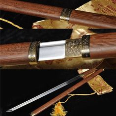 Saya Matirail : rose wood. Blade Material : 1060 carbon steel. Blade :The sword's blade is making by the ancient Chinese ways,hand forged.Hand forged blade with full. with sword. Special customized sword may need more time.