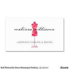 Red Watercolor Dress Mannequin Customizable Business Card for Boutiques, Fashion Designers, Stylists, Fashion Bloggers and more.