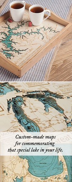 Personalized wooden lake maps from thegrommet.com - SO beautiful!
