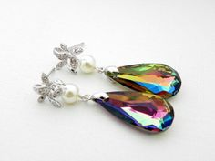 Sparkly Vitrail Medium Swarovski Teardrop Earrings