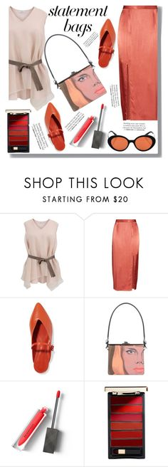 """""""Statement Bag"""" by drigomes ❤ liked on Polyvore featuring Brunello Cucinelli, Wayf, Mercedes Castillo, Prada, Burberry, L'Oréal Paris, Oliver Peoples and Franke"""