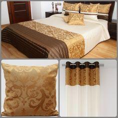 Ecru sypialniane zestawy dekoracyjne z brązowo złotymi pasami