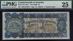 Commonwealth of Australia ND1928 £5 KEVIII PMG Certified VF25 R42 Pick# 17b RARE