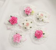 Handmade Shabby Cottage Couquette Lace Rose Flowers by Becky #Handmade #HandmadeShabbyChicFlowers
