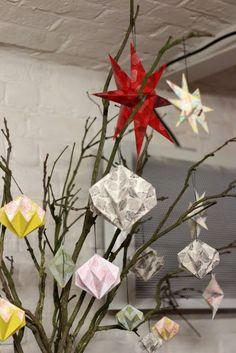 Étoiles et boules en origami impression tampons