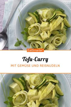 Mittagessen; Tofu-Curry   eatsmarter.de #mittag #tofu #curry Tofu Curry, Green Beans, Vegetables, Food, Lemon Grass, Tofu Recipes, Rice Noodles, Lunches, Kochen