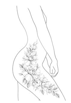 Dope Tattoos, Side Hip Tattoos, Hip Thigh Tattoos, Leg Tattoos Women, Cute Tattoos For Women, Body Art Tattoos, Tattoo Hip, Side Of Thigh Tattoo, Tatoos