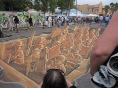 Sarasota Chalk Festival 2011: This LEGO terracotta army was inspired by the giant LEGO man found on a Sarasota beach, as well as the Terracotta warriors of ancient China.                                                                                   |AmazingStreetArt|