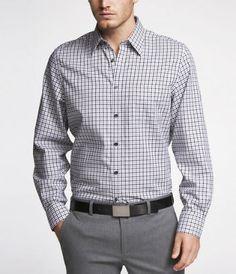 gray checked/plaid shirt w/ gray pants and yellow/patterned tie. Groomsmen Outfits, Non Iron Shirts, Grey Dress Pants, Check Shirt, Grey Yellow, Work Attire, Collar Shirts, Button Down Shirt, Plaid