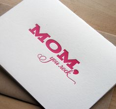 Mothers Day Card - Mom you rock. $4,50, via Etsy.