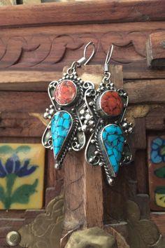 Tibetan Vintage Large Statement Handmade Earrings Ethnic tribal earrings Boho earrings Stone earrings Oriental earrings Tribal jewelry