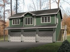 Very large garage apartment with one bedroom is built over three car garage.