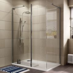 Cooke & Lewis Luxuriant Rectangular Shower Enclosure with Walk-In Entry (W)1380mm (D)880mm | Departments | DIY at B&Q