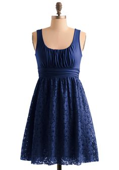 Blueberry Iced Tea Dress - Blue, Floral, Lace, A-line, Empire, Tank top (2 thick straps), Party, Spring, Summer, Fall, Show On Featured Sale, Short