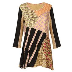 Women's Gold & Black Floral Paisley Patchwork 3/4 Sleeve ...