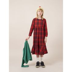 bobo choses rainbow long sleeve flounce dress in red plaid. features an empire waist and ruffle soft detail at the bottom. bobo choses happy sad rainbow cloud stitched on the chest. made in spain. Red Plaid, Tartan, Contemporary Dresses, Girls Dresses, Summer Dresses, Kids Wear, Organic Cotton, Kids Fashion, How To Wear