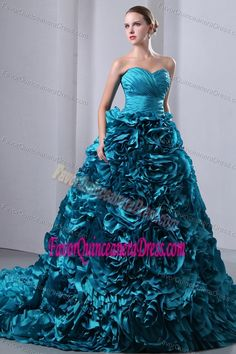 Ruched Sweetheart Teal Brush Train Taffeta Dress for Quince with Rolling Flowers
