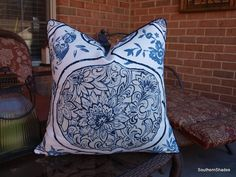 BOTH SIDES  ONE Schumacher Katsugi Blues Pillow by SouthernShades