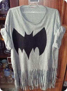 Use scissors to cut fringe and draw a stencil of the bat and use paint!