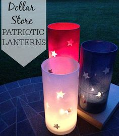 These lanterns are so easy to make. The dollar store has the supplies and with just a couple of dollars you can have some patriotic fun.