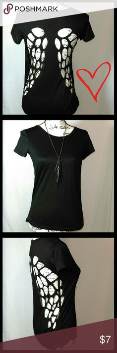 Black with Cutout Wings Stretchy Soft Cotton with laser cut holes to form wings in back. (Necklace Not Included) Never worn, Like new condition! Tops Tees - Short Sleeve