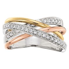 Crossover diamond ring, 1/3 carat total weight, in 14K white, yellow and rose gold.